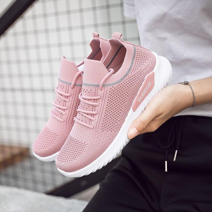 Moipheng Flats Women Sneakers Shoes 2020 Spring Sock Sneakers Women Summer Lace Up Flats Women Plus Size Walking Tenis Feminino(China)
