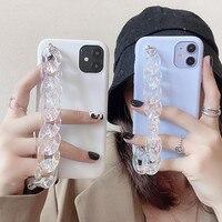 Custodia a catena in cristallo trasparente per bracciale a mano per Samsung Galaxy S20 FE Note 20 Ultra S10 S9 S8 Plus Note 10 Lite custodia morbida in Silicone