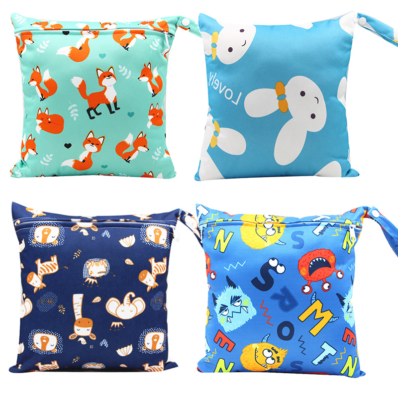 Mommy Diaper Bag for Baby Reusable Cloth Nappy Wet Bag Infant Portable Waterproof Stroller Dry Pail Pocket 28*30cm
