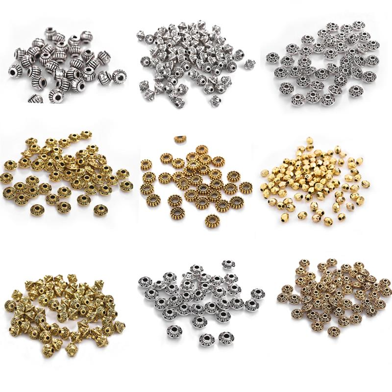 50pcs/Lot Alloy Spacer Beads Ancient Silver Gold Beads For DIY Bracelet Necklace DIY Jewelry Making Findings Accessories