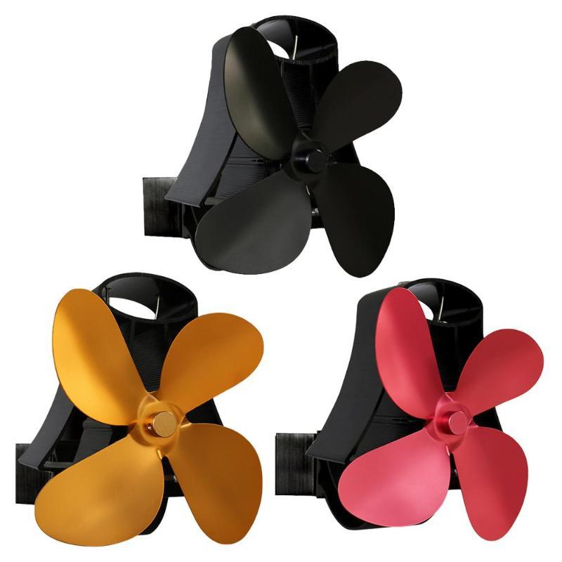 4 Blades Low Noise Fireplace Fan Aluminum Heat Distribution Burner Heat Sink Heat Powered Stove Fan Ventilation Device
