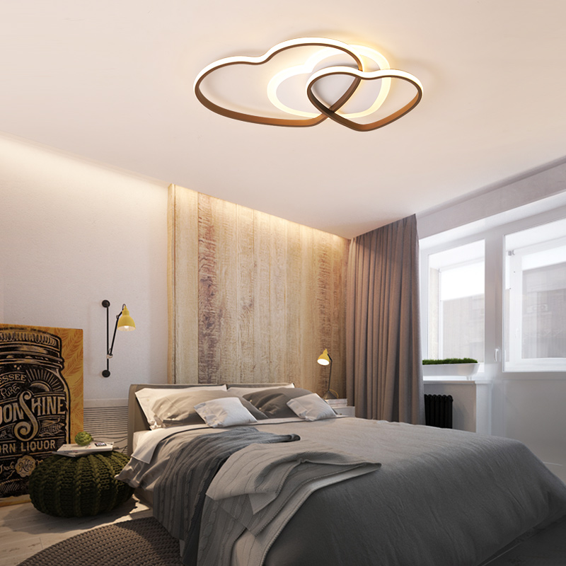 New double heart modern LED ceiling lamp aluminum acrylic brown and white ceiling lights for bedroom living room study room