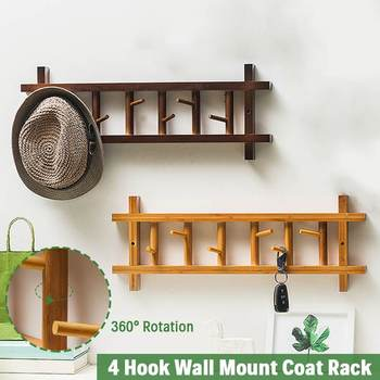 6 Hooks Rotation Bedroom Furniture Coat Rack Clothes Hanger Hooks Living Room Closet Wooden Hat Racks Coat Hanger Wall Hook