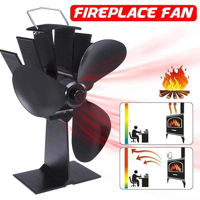 3 Blades Stove Fan Fireplace Fan Heat Powered Wood Burner Eco Friendly Quiet Heat Distribution Home Efficient Stove Fan