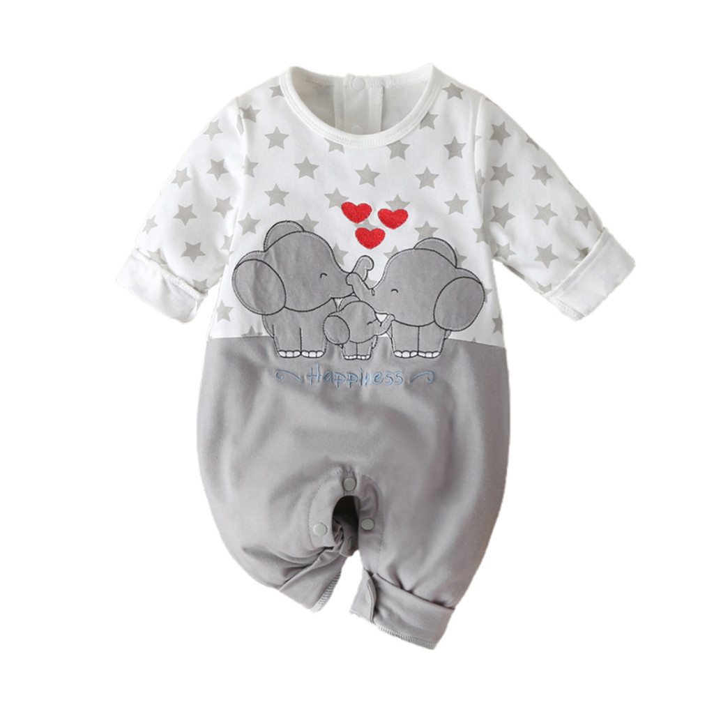 Kawaii Cute Koala Printed Unisex Baby Long Sleeve Bodysuit Romper Jumpsuit
