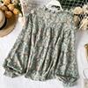 Elegant Sweet ruffle Women Shirt Lantern sleeve Floral print Chiffon Shirts and Blouses 2020 Spring Slim Female blouses Tops 2