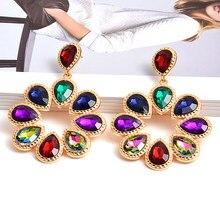 Nowe mody w kształcie kwiatów kolorowe Rhinestone wiszące kolczyki wysokiej jakości jasne kryształy biżuteria akcesoria dla kobiet
