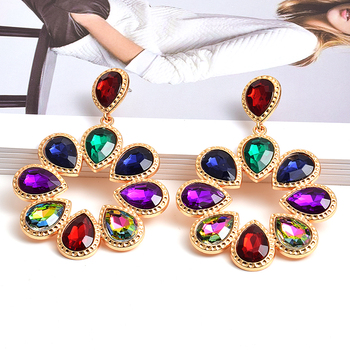 New Fashion Flower-Shaped Colorful Rhinestone Dangle Drop Earrings High-Quality Clear Crystals Jewelry Accessories For Women za new bird shaped colorful rhinestone metal long dangle drop earrings fine crystals chain tassels jewelry accessories for women