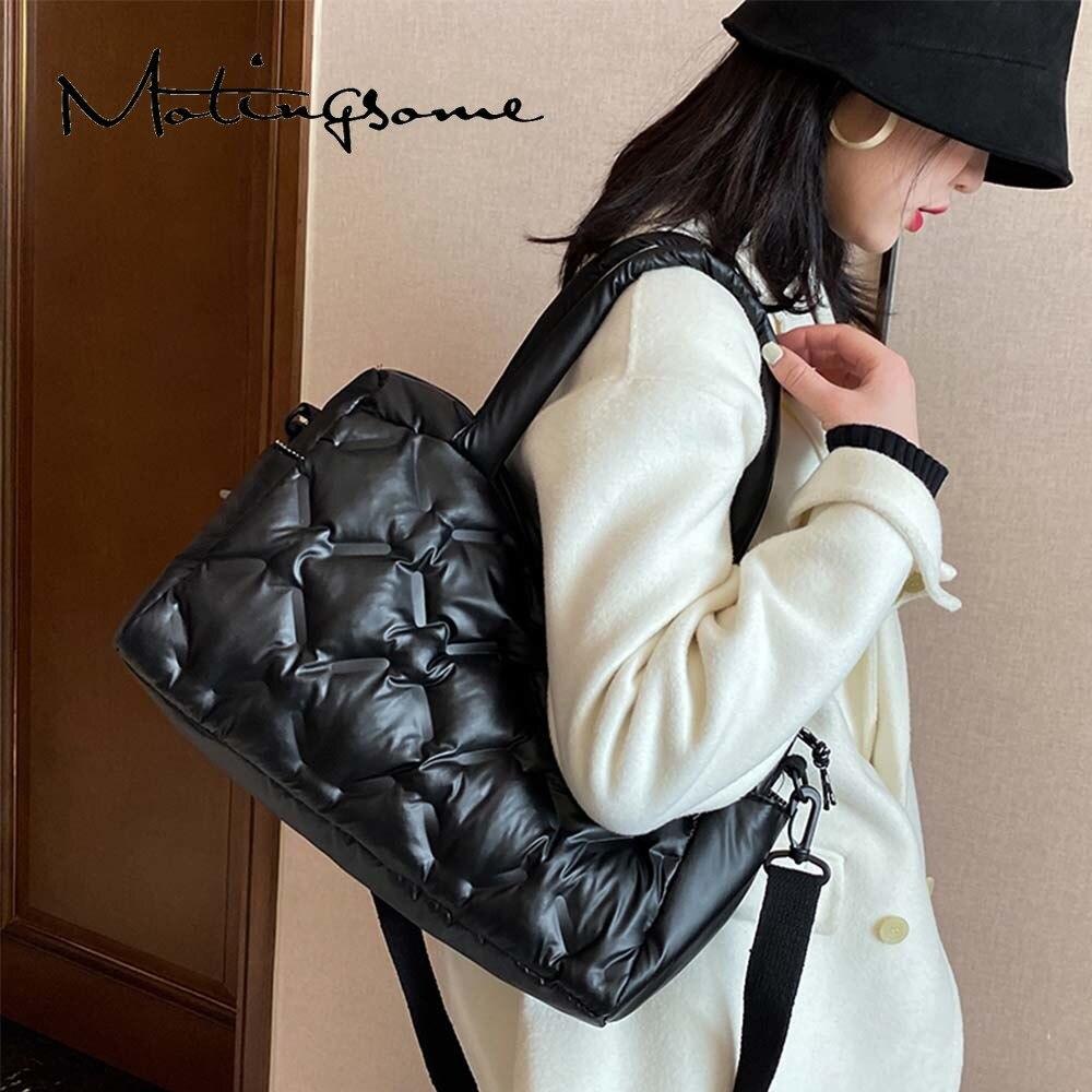 Roomy Space Bag Women Shoulder Warm Handbag Luxury Designer Bags Female Cotton Down Crossbody Shoulder Large Travel Bag 2021 New