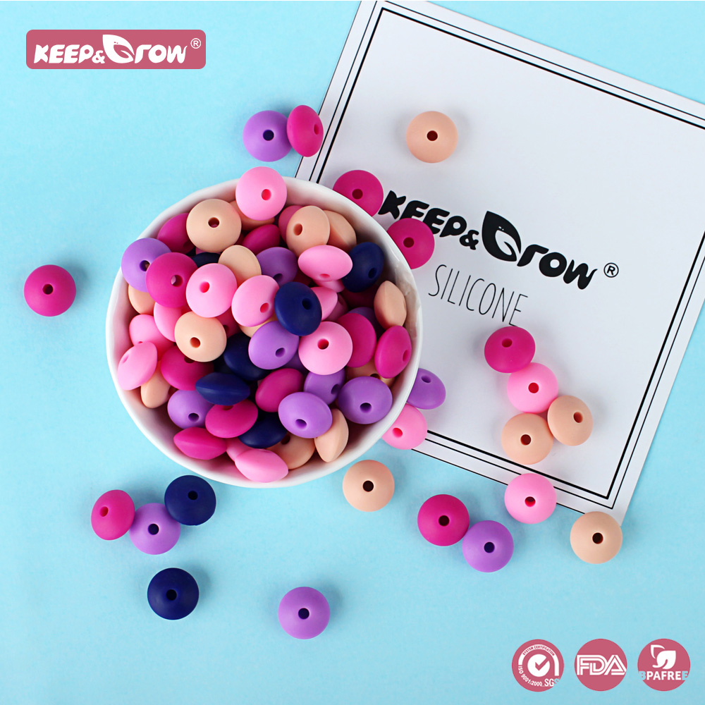Keep&Grow 50Pcs 12MM Silicone Lentil Beads Food Grade Abacus Beads BPA Free Baby Teether Toys For Teething Pacifier Chain Making