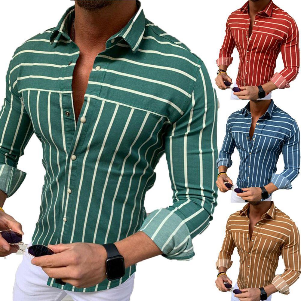Men Business Stripe Print Turn Down Collar Button Long Sleeve Shirt Top Clothing