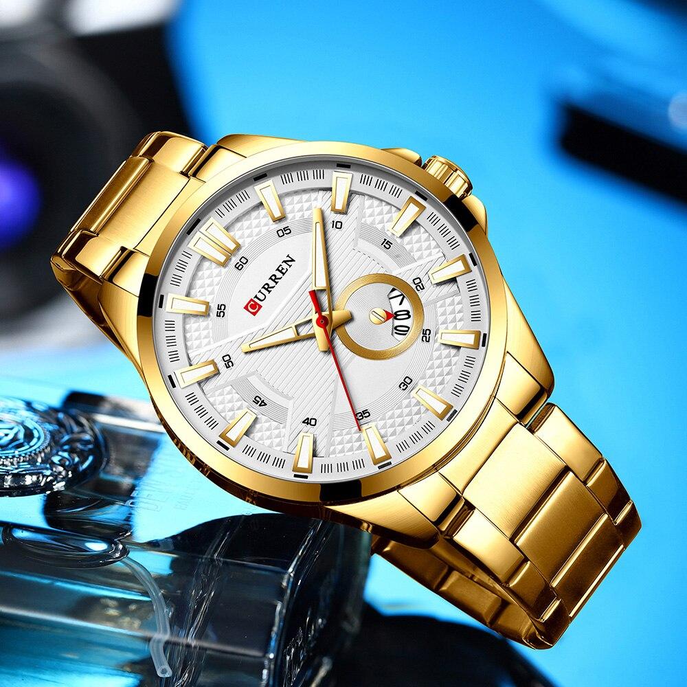 H79eb7896a1d844299dba495f5b9cb79e6 New Stainless Steel Quartz Men's Watches Fashion CURREN Wrist Watch Causal Business Watch Top Luxury Brand Men Watch Male Clock