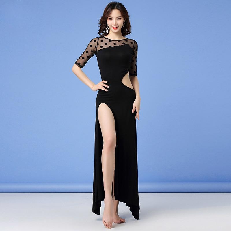 2019 New Women Dancewear Belly Dance Clothes Modal Outfit One-piece Sundress Girls Practice Costume Bellydance Mesh Long Dress