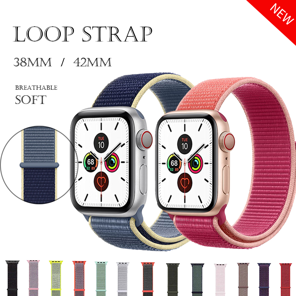 For Apple Watch Strap Series 3/2/1 38MM42MM Sport Loop Iwatch Band 5 40/44mm Correa Pulseira Apple Watch 54 Band Nylon Watchband
