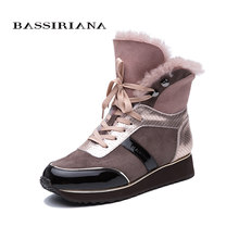 BASSIRIANA 2019 Winter new women's casual shoes patent leather stitching leather fur lace up fashion warm snow boots(China)