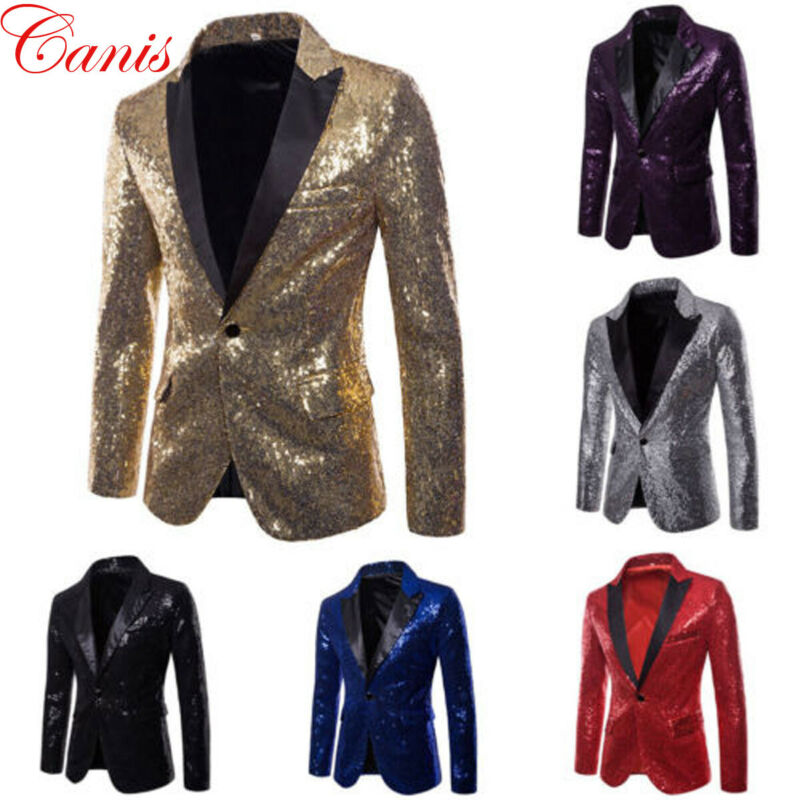 Men Sequins Suit Blazer Jacket 2020 Brand Shiny Glitter Embellished Blazer Male Slim DJ Club Stage Blazer Formal Wedding Suit