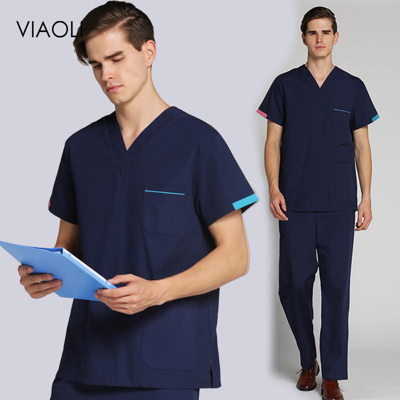 Operating Room Scrub Set V-neck Top+nursing Pants Uniform Doctor Work Clothes Surgery Dental Clinic Clothes Scrub Shirt/suit Men