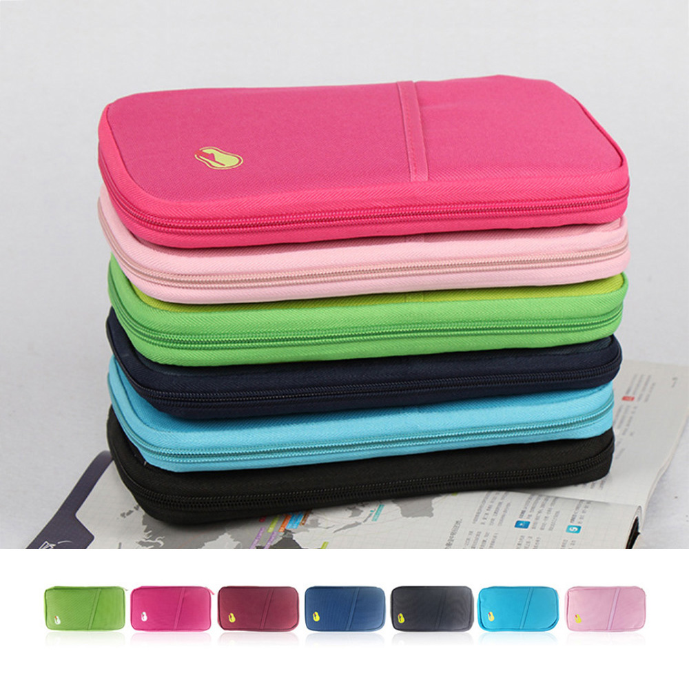 Multi-Functional Travel Passport Package Credit ID Card Cash Wallet Multicolor Holder Case Document Storage Bag Purse Documents