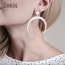 ZAKOL Delicate Luxury Big Star And Moon Cubic Zirconia Dangle Earrings for Women Fashion Heart Party Wedding Jewelry FSEP2138