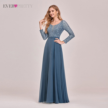 Christmas Dusty Blue Long Evening Dresses Woman Party Night Ever Pretty A Line Long Sleeve Sequined Elegant Formal Vestidos 1