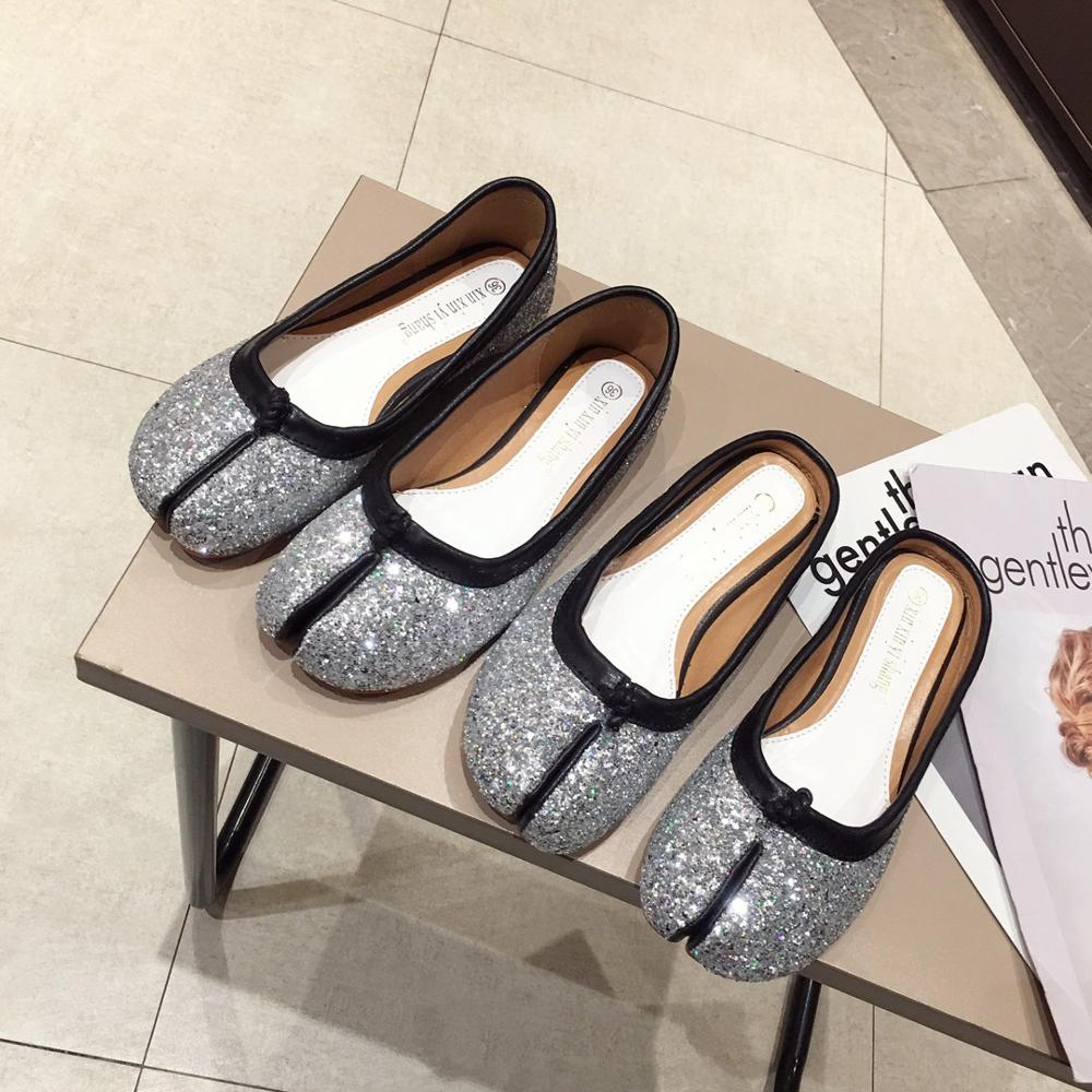 women Japanese-style tabi ninja shoes bling shallow close toe mules slippers 2 styles silver/black sequins slip-on flats loafers thumbnail