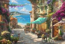 JOHNSONอิตาเลี่ยนCafe Window Mountain Sea Ocean Garden Townฉากหลังคอมพิวเตอร์คุณภาพสูงพิมพ์พื้นหลังงานแต่งงาน