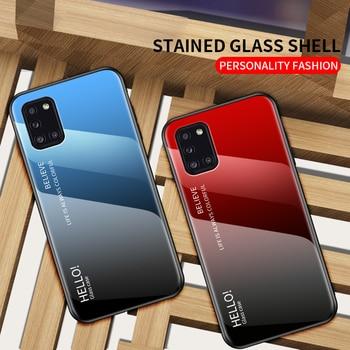 Перейти на Алиэкспресс и купить Чехол для телефона Samsung Galaxy A31, чехол, покрытие, градиентное закаленное стекло, мягкий TPU силиконовый чехол для Samsung A31 A 31 A41 A51 A71 5G