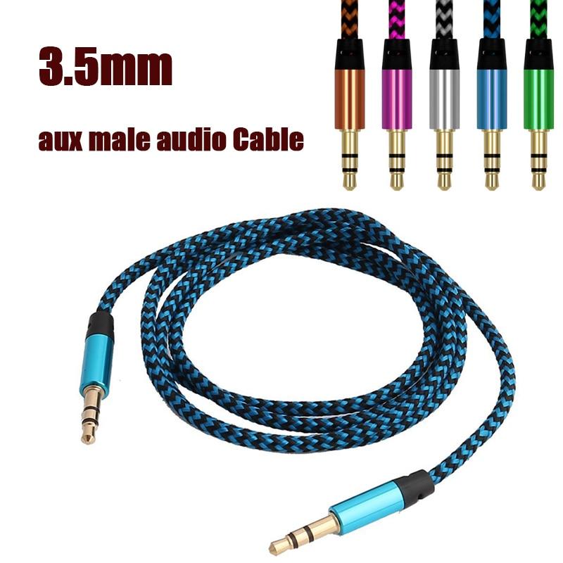 1 шт. 1 м цветной нейлоновый Aux-кабель 3,5 мм до 3,5 мм штекер аудио кабель штекер-штекер автомобильный Aux-Шнур для Iphone Xiaomi позолоченный штекер