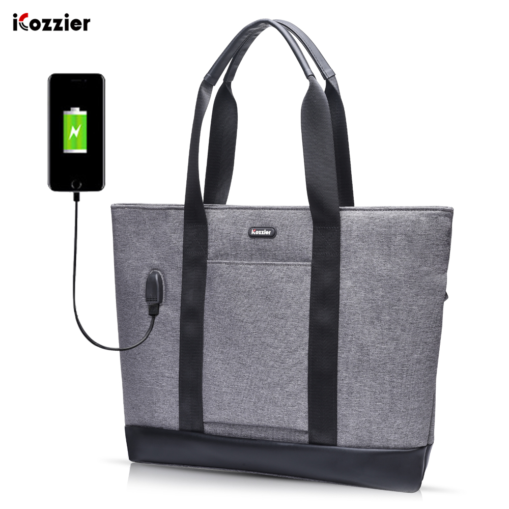 Laptop Tote Bag 15.6 Inch Large Briefcase With USB Charging Port Water-Repellent Women Lady Stylish Handbag For Business/School