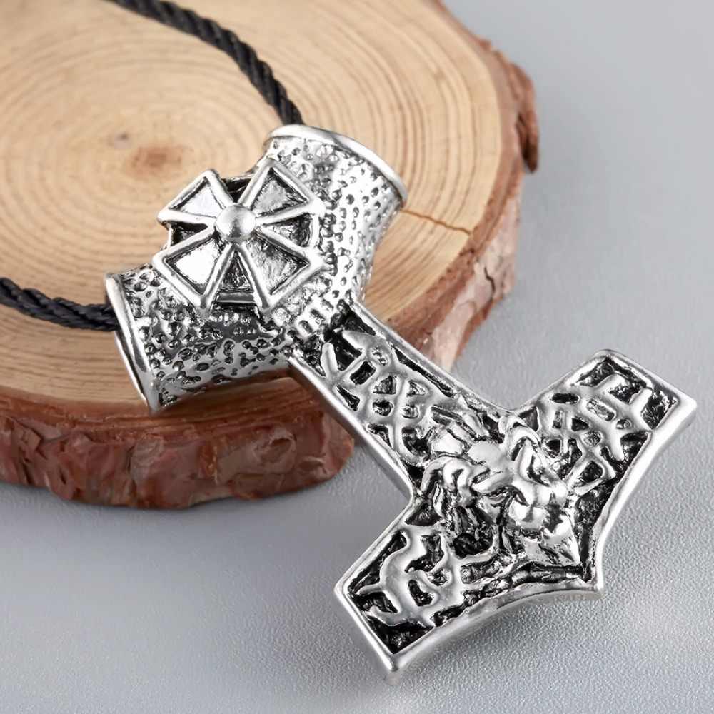 QIMING antyczne srebro duży Punk naszyjnik Thors młot Mjolnir Viking wisiorek biżuteria Norse skandynawskie wzory Choker naszyjnik