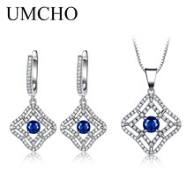 UMCHO Blue Sapphire Gemstone Jewelry Sets Pendant Necklace Clip Earrings For Women 925 Sterling Silver Wedding