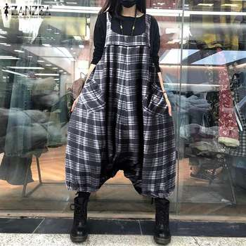 ZANZEA Summer Sleeveless Drop Crotch Overalls Women Jumpsuits Vintage Plaid Checked Rompers Baggy Loose Suspenders Lantern Pants 3