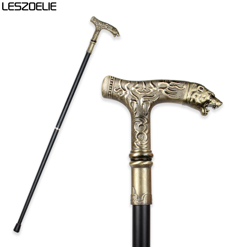 Tiger-Head Luxury Decorative Walking Stick Canes For Men Vintage Bronze Walking Hand Canes Party  Fashion Elegant Walking Stick