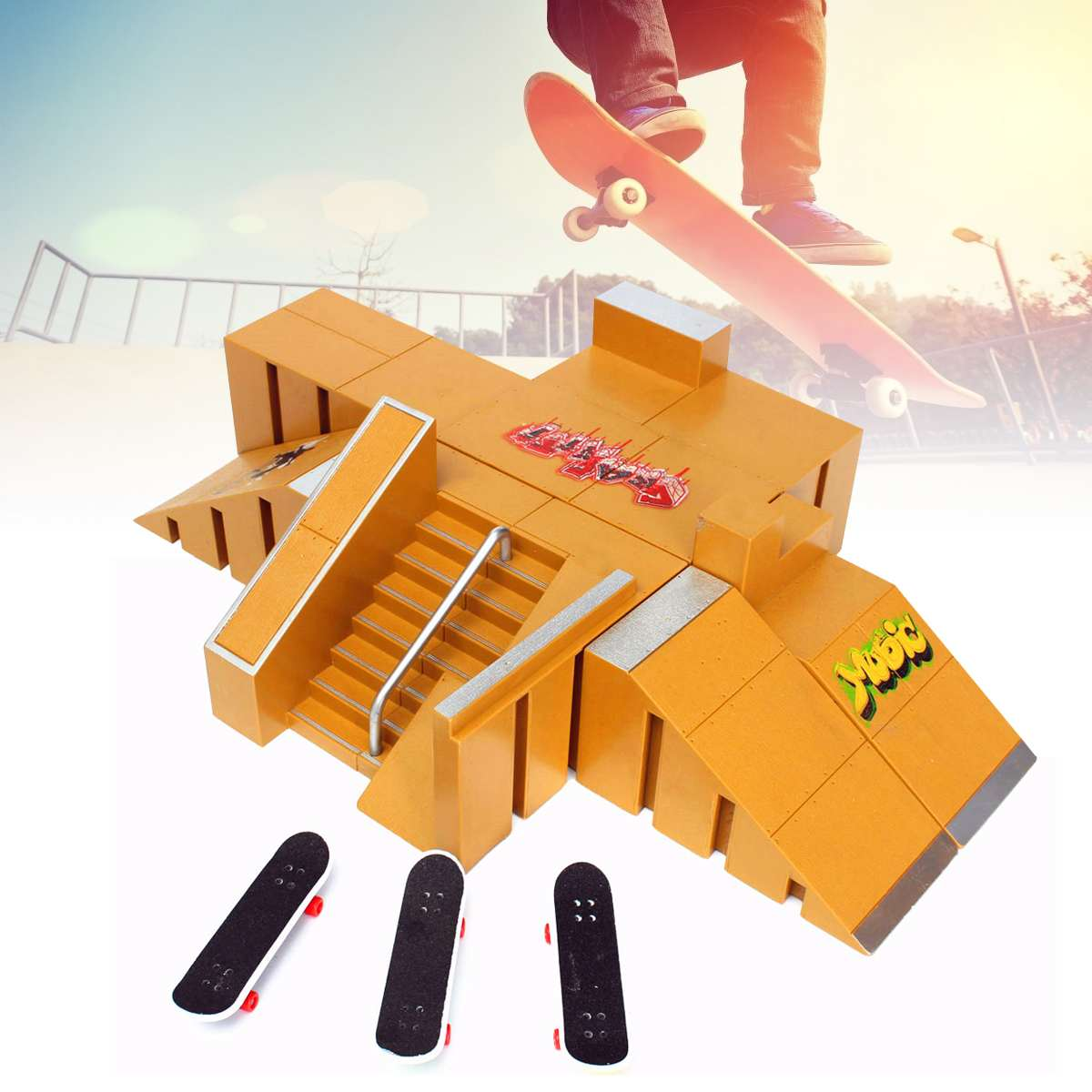 26Pcs Skate Park Kit Ramp Parts For Tech Deck Fingerboard Mini Finger Skateboard Ultimate Parks 92A Funny Game Toys Kids Gifts