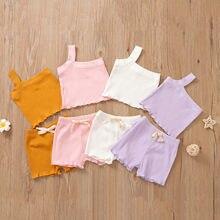 2021 verão bebê recém-nascido bonito roupas infantis define um ombro sólido malha sem mangas colete shorts 2 pçs da criança outfits