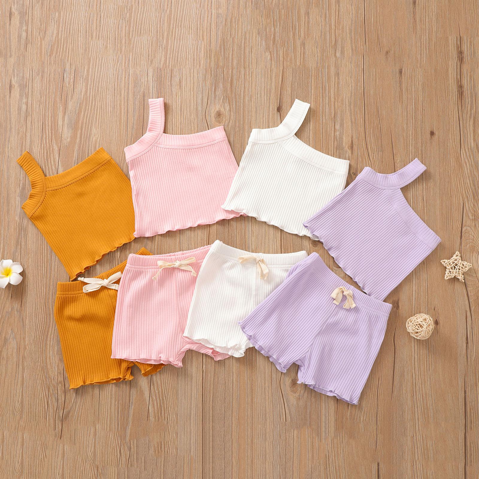 2021 קיץ יילוד תינוק חמוד תינוק בגדי סטים אחד כתף מוצק לסרוג שרוולים אפוד צמרות מכנסיים קצרים 2pcs פעוטות תלבושות