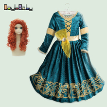 Fancy Brave Merida Princess Dress Cosplay Warm Costume for Kids