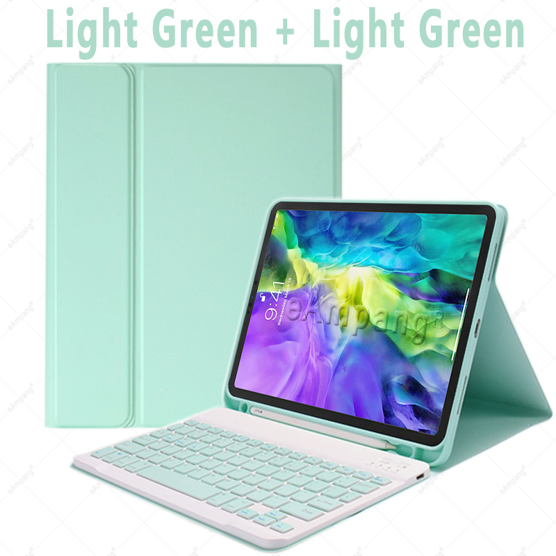 Green no Mouse Green For iPad Air4 10 9 2020 A2324 A2072 Keyboard Mouse Case English Russian Spanish Korean Keyboard
