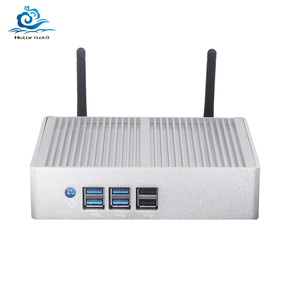 Fanless Mini PC Core I7 4500U I3 4010Y I5 4210Y 1080P HDMI Wifi 8*USB HD Graphics 4200 Desktop Mini Computer Office Gaming PC