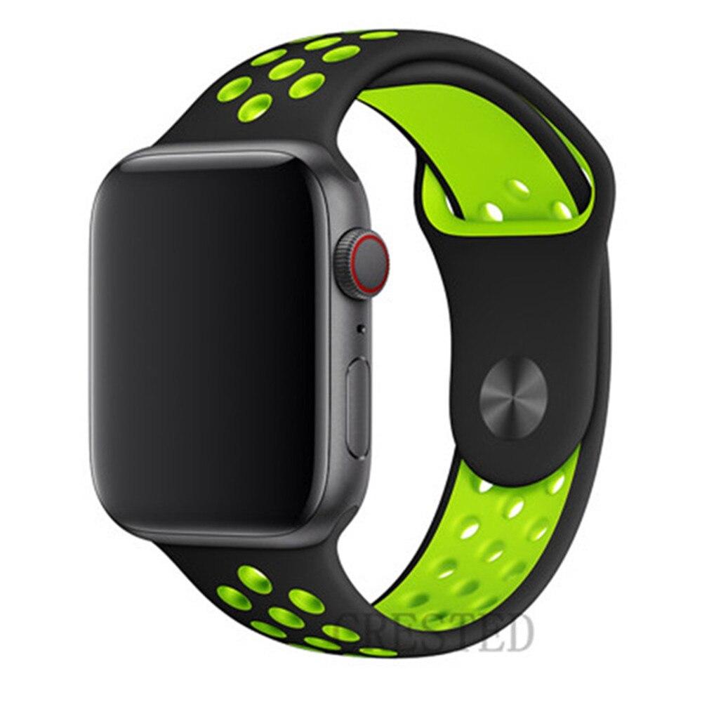 Спортивный ремешок для apple watch band 44 мм/40 мм apple watch 5 4 3 band iwatch band 5 42 мм/38 мм correa браслет ремень аксессуары для часов - Цвет ремешка: black green1