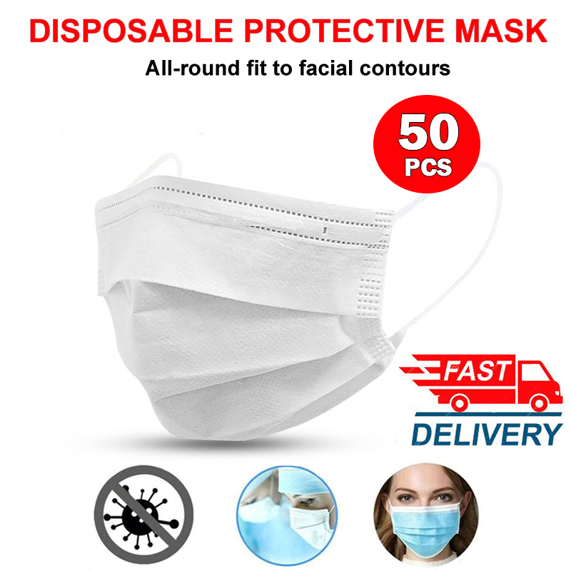 3 Layer Disposable Facial Mouth Masks Elastic Earloop Face Mask Anti-fog Dust Breathable PM2.5 White Facial Protective Masks