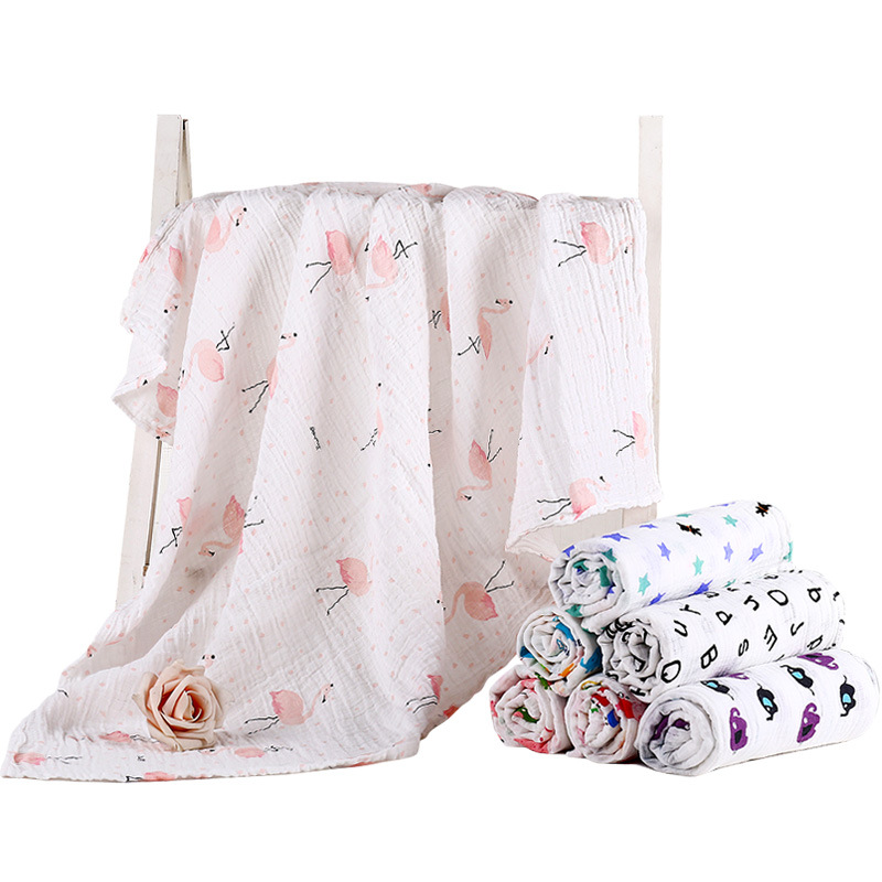 1Pc Muslin 100% Cotton Baby Swaddles Soft Newborn Blankets Bath Gauze Infant Wrap Sleepsack Stroller Cover Play Mat