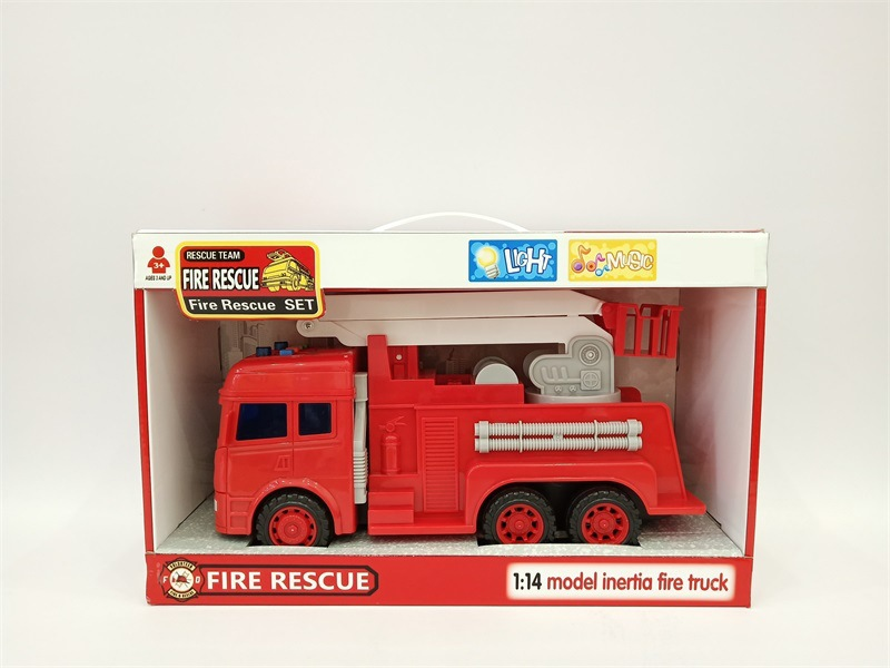 CHILDREN'S Toy Inertia Fire Truck Model With Light And Music Model Fire Truck Aerial Ladder Truck Sprinkler Truck