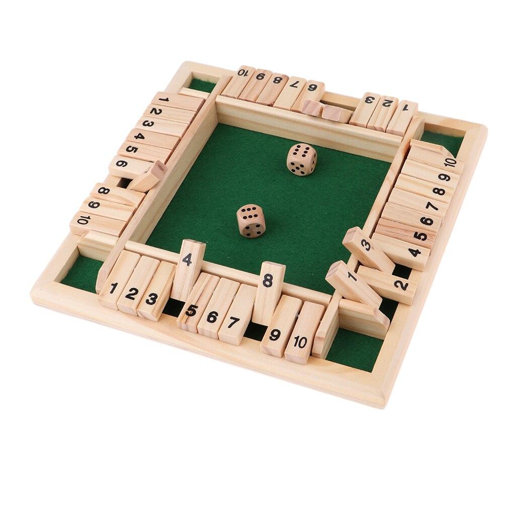 Madera Deluxe 4 de 10 número cierra la caja de dados de juego de aletas y dados juego para 4 personas Pub Bar suministros para fiestas
