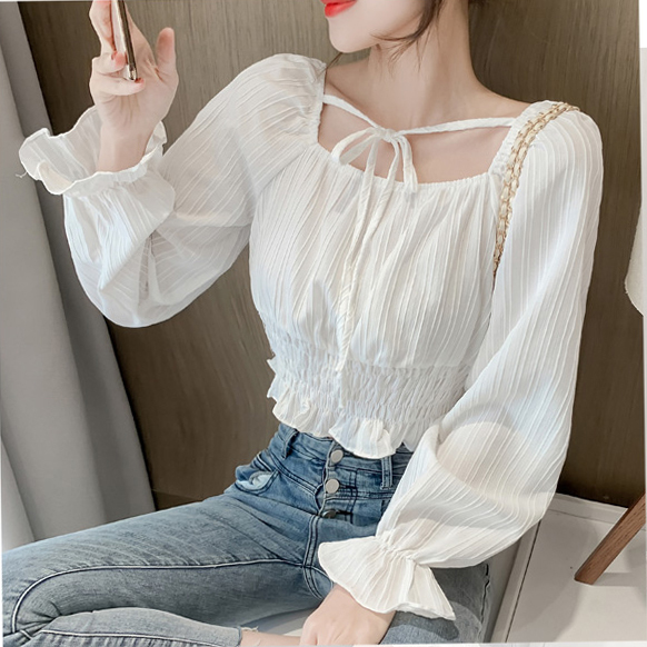 Temperament Square Collar Blouses Women 2021 Spring New Style Short Chiffon Plus Size Shirts Sweet Solid Color Long Sleeve Tops 5