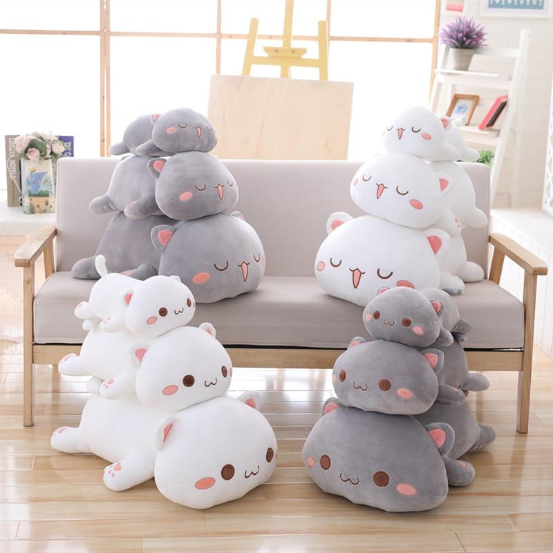 35/50/ 60cm Kawaii Lying Cat Plush Toys Stuffed Cute Cats Doll Lovely Animal Pillow Soft Cartoon Cushion Kid Christmas Gift