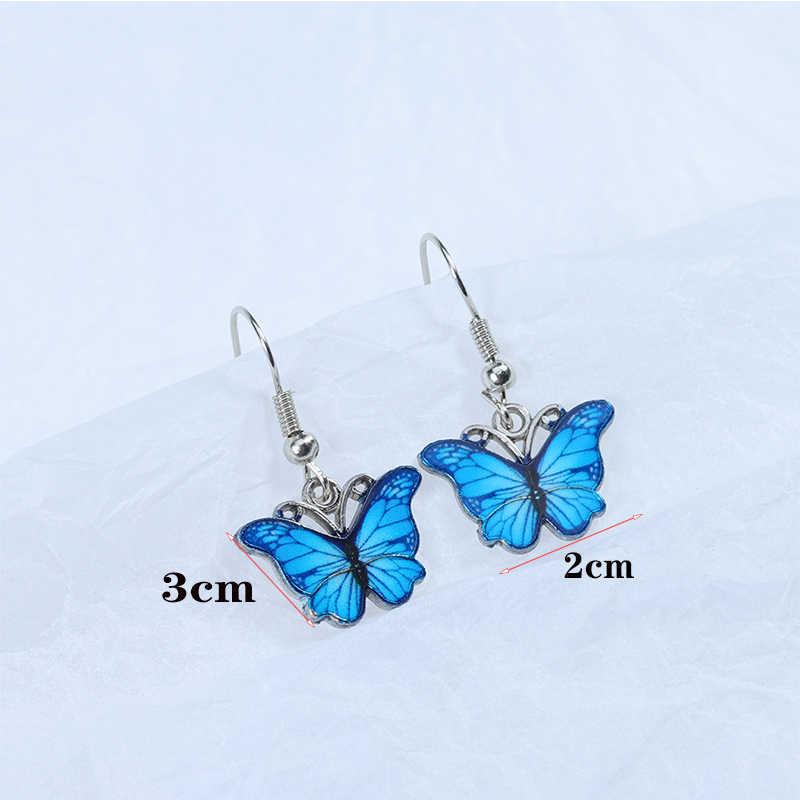 เกาหลีBlue Gradient Butterflyสร้อยคอสำหรับผู้หญิงSilverเงินสีมุกผีเสื้อจี้Chokerสร้อยคอของขวัญเครื่องประดับ