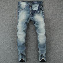 Włoski styl modne dżinsy męskie światło Retro niebieskie klasyczne guziki spodnie Vintage dopasowane dżinsy męskie małe rozciągliwe modne jeansy tanie tanio Przycisk fly Kieszenie Stałe Denim RL602 Proste Medium Szczupła Midweight Pełnej długości Stripe Light Blue 28-38 98 Cotton 2 Spandex