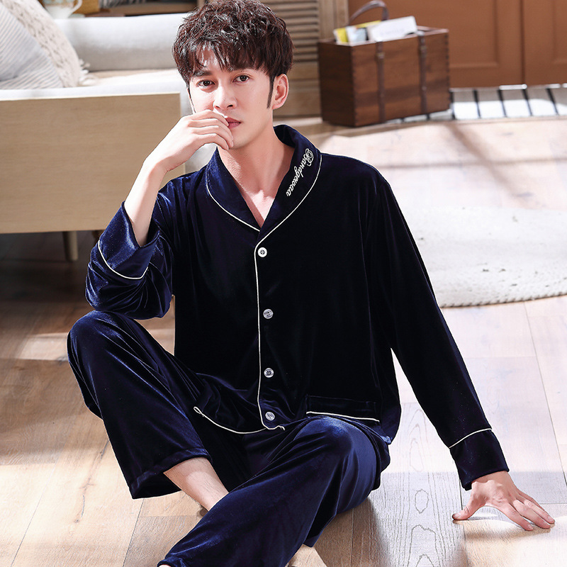 Men 2PCS Sleepwear Pyjamas Suit Casual Soft Homewear Comfortable Nightwear Autumn Winter Warm Lingerie Velvet Pajamas Set