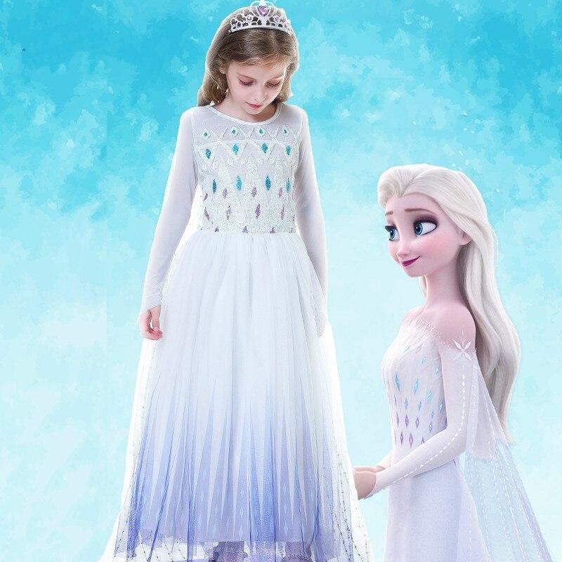 Snow Queen 2 White Girls Anna Elsa Dress Halloween Costume Child Christmas Children Gowns Infant Chrismas Kids Holiday Dress